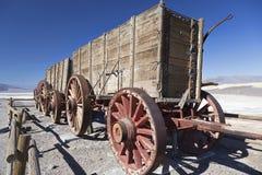 Twenty Mule Team Wagon Harmony Borax Works Death Valley National Park. Exhibit of Twenty Mule Team Wagon used to haul ore from Harmony Borax Works near Furnace Royalty Free Stock Image