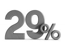 Twenty nine percent on white background. Isolated 3D illustratio. N Royalty Free Stock Image