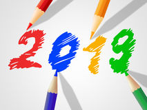 Twenty Nineteen Indicates New Year And Annual Stock Images