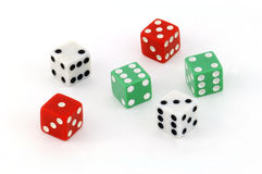 Twenty-One!. Six coloured dice;  two each of red, white and green Stock Image