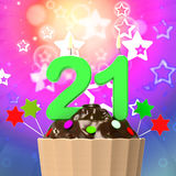 Twenty One Candle On Cupcake Means Colourful. Twenty One Candle On Cupcake Meaning Colourful Celebration And Happiness Stock Image
