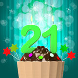 Twenty One Candle On Cupcake Shows Adult Stock Photos