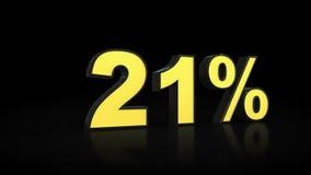 Twenty-one 21 % percent 3D rendering. Twenty-one 21 percent caption 3D rendering Stock Image