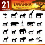 Twenty one Savanna animal silhouettes. Set of 21 Silhouettes representing different Savanna Animal Royalty Free Stock Photography