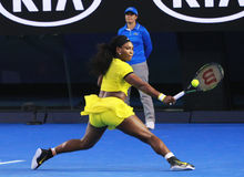 Twenty one times Grand Slam champion Serena Williams in action during her final match at Australian Open 2016 Royalty Free Stock Photo