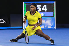 Twenty one times Grand Slam champion Serena Williams in action during her final match at Australian Open 2016 Royalty Free Stock Images