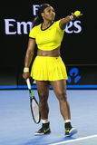 Twenty one times Grand Slam champion Serena Williams in action during her final match at Australian Open 2016. MELBOURNE, AUSTRALIA - JANUARY 30, 2016: Twenty Stock Image