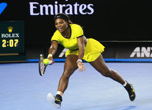 Twenty one times Grand Slam champion Serena Williams in action during her final match at Australian Open 2016. MELBOURNE, AUSTRALIA - JANUARY 30, 2016: Twenty Stock Photo