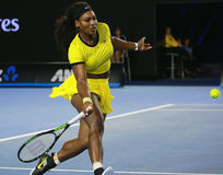 Twenty one times Grand Slam champion Serena Williams in action during her final match at Australian Open 2016. MELBOURNE, AUSTRALIA - JANUARY 30, 2016: Twenty Royalty Free Stock Photography