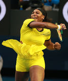 Twenty one times Grand Slam champion Serena Williams in action during her final match at Australian Open 2016. MELBOURNE, AUSTRALIA - JANUARY 30, 2016: Twenty Stock Photography