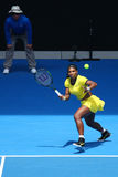 Twenty one times Grand Slam champion Serena Williams in action during her quarter final match at Australian Open 2016. MELBOURNE, AUSTRALIA - JANUARY 26, 2016 Royalty Free Stock Image