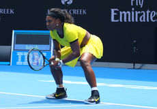 Twenty one times Grand Slam champion Serena Williams in action during her quarter final match at Australian Open 2016 Stock Photo