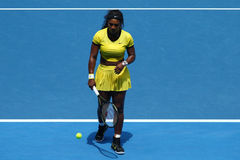 Twenty one times Grand Slam champion Serena Williams in action during her quarter final match at Australian Open 2016. MELBOURNE, AUSTRALIA - JANUARY 26, 2016 Stock Photo