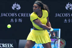 Twenty one times Grand Slam champion Serena Williams in action during her quarter final match at Australian Open 2016 Royalty Free Stock Images