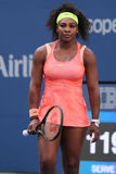 Twenty one times Grand Slam champion Serena Williams in action during her round four match at US Open 2015 Stock Photo