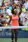 Twenty one times Grand Slam champion Serena Williams in action during her round four match at US Open 2015 Royalty Free Stock Photography