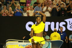 Twenty one times Grand Slam champion Serena Williams celebrates victory after her semifinal match at Australian Open 2016 Royalty Free Stock Photos