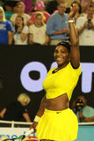 Twenty one times Grand Slam champion Serena Williams celebrates victory after her semifinal match at Australian Open 2016 Stock Image
