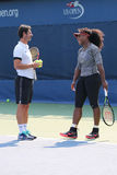 Twenty one times Grand Slam champion Serena Williams practices for US Open 2015 with her coach Patrick Mouratoglou Royalty Free Stock Images