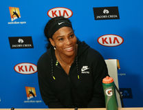 : Twenty one times Grand Slam champion Serena Williams during press conference after loss at Australian Open 2016 final Stock Photography