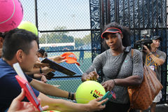 Twenty one times Grand Slam champion Serena Williams signing autographs after practice for US Open 2015 Stock Photo