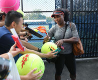 Twenty one times Grand Slam champion Serena Williams signing autographs after practice for US Open 2015 Royalty Free Stock Photos