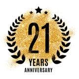 Twenty one years golden anniversary Stock Photos