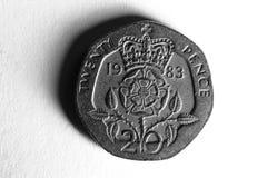 Twenty Pence. A portrait of a used twenty pence piec Stock Photo