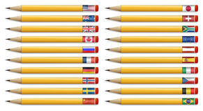 Twenty pencils with flags of the world Royalty Free Stock Photo