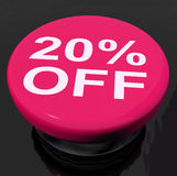 Twenty Percent Button Shows Sale Discount Or 20 Off Stock Images