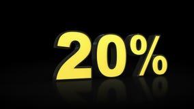 Twenty 20 % percent 3D rendering. Twenty 20 percent caption 3D rendering Royalty Free Stock Photo
