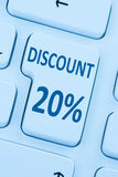 20% twenty percent discount button coupon sale online shopping i. Nternet shop computer Stock Images