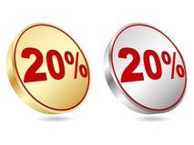 Twenty percent discount icon Royalty Free Stock Image