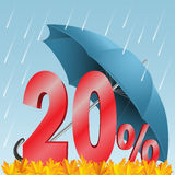 Twenty percent discount. Illustration - autumn seasonal sale discounted twenty percent. Rain, umbrella, numbers, and leaves vector illustration