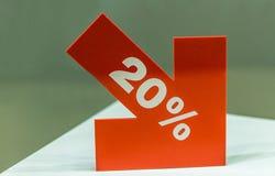 Twenty percent discount sign stock images