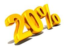 Twenty percent. Gold. 3d. Very beautiful three-dimensional illustration, figure Stock Photography