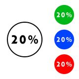 Twenty percent icon. Illustration. flat and outline style Royalty Free Stock Photography