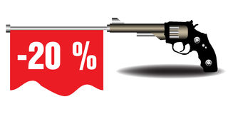 Twenty percent off. Abstract colorful background with a revolver shooting out a red flag on which is written the text twenty percent off. Reduction concept Royalty Free Stock Photography