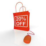 Twenty Percent Off Bag Represents Online 20 Sales and Discounts Stock Photography