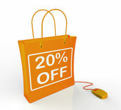 Twenty Percent Off Bag Shows Online Sales. And 20 Discounts Stock Images