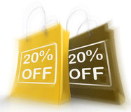 Twenty Percent Off On Bags Shows 20 Bargains. Twenty Percent Off On Bags Show 20 Bargains Royalty Free Stock Images