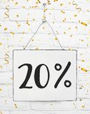 Twenty 20 % percent off black friday sale 20% discount golden pa. Rty confetti banner billboard royalty free stock photo