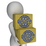 Twenty Percent Off Boxes Show 20 Reduced Price Stock Images