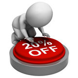 Twenty Percent Off Button Means 20 Stock Photography