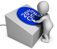 Twenty Percent Off Button Shows 20 Price Cut Royalty Free Stock Image