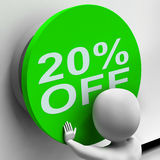 Twenty Percent Off Button Shows 20 Price Reduction Stock Photo