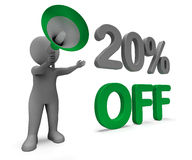 Twenty Percent Off Character Means Discounted Royalty Free Stock Photo