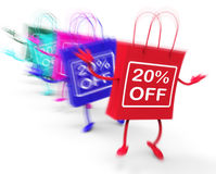 Twenty Percent Off On Colored Bags Show Bargains Stock Photo