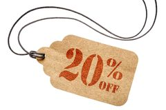 Twenty percent off discount -  paper price tag. Twenty  percent off discount  - a paper price tag with twine isolated on white Royalty Free Stock Image