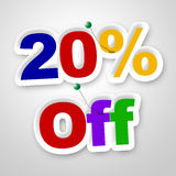 Twenty Percent Off Indicates Reduction Savings And Save Royalty Free Stock Image